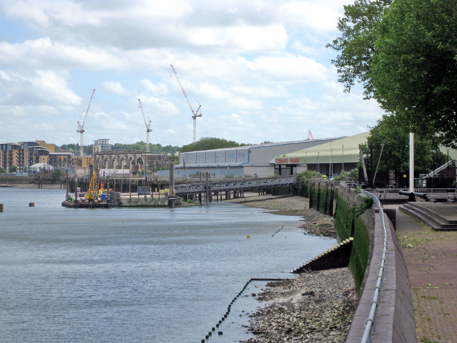 View of Convoys Wharf from the Thames Path